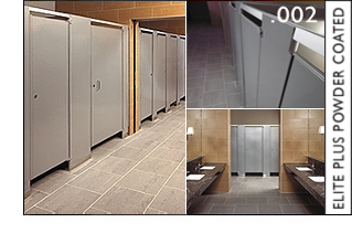 Hadrian Products Elite Plus Powder Coated Metal Toilet Partitions - Hadrian bathroom stall hardware