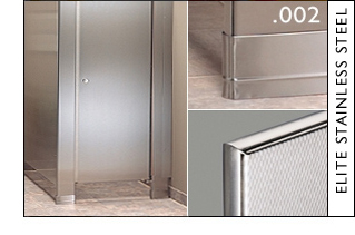 Hadrian products elite stainless steel toilet partitions for Stainless steel bathroom partitions